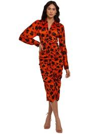 Ganni Leo Silk Stretch Dress Orange