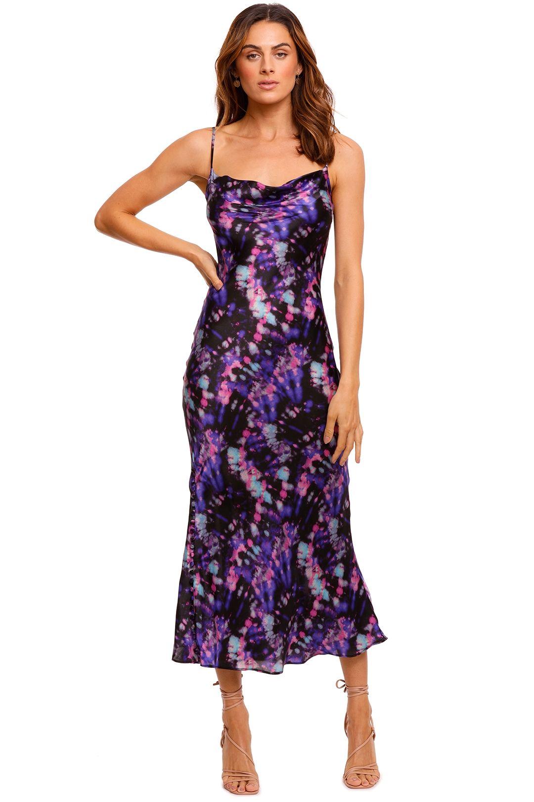 Ganni Lia Purple Tie Dye Slip Dress