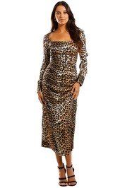 Ganni Silk Satin LS Dress Leopard Midi