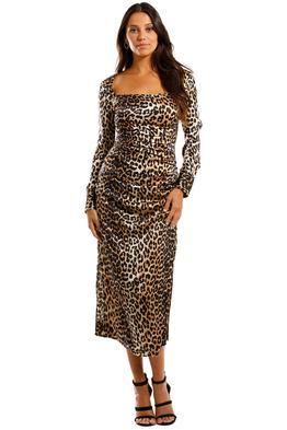 Ganni Silk Satin LS Dress Leopard Midi