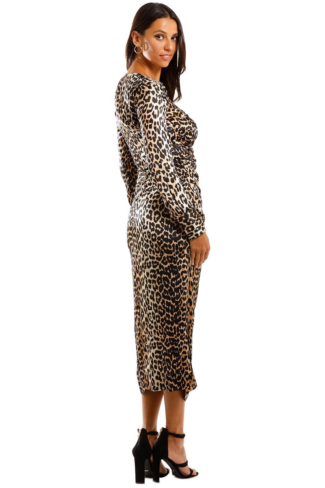 Ganni Silk Satin LS Dress Leopard Midi Ruched