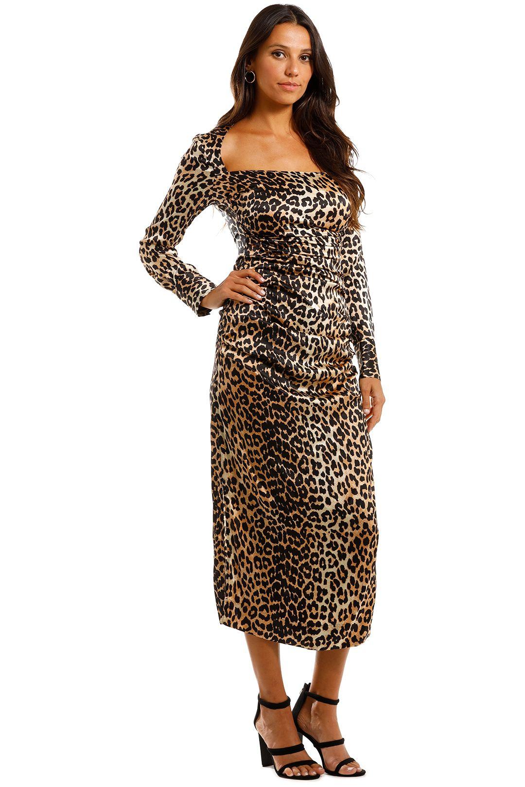 Ganni Silk Satin LS Dress Leopard Midi Silk