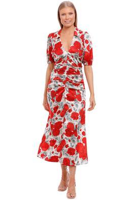 Ganni Silk Satin Maxi Dress Brazilian Sand