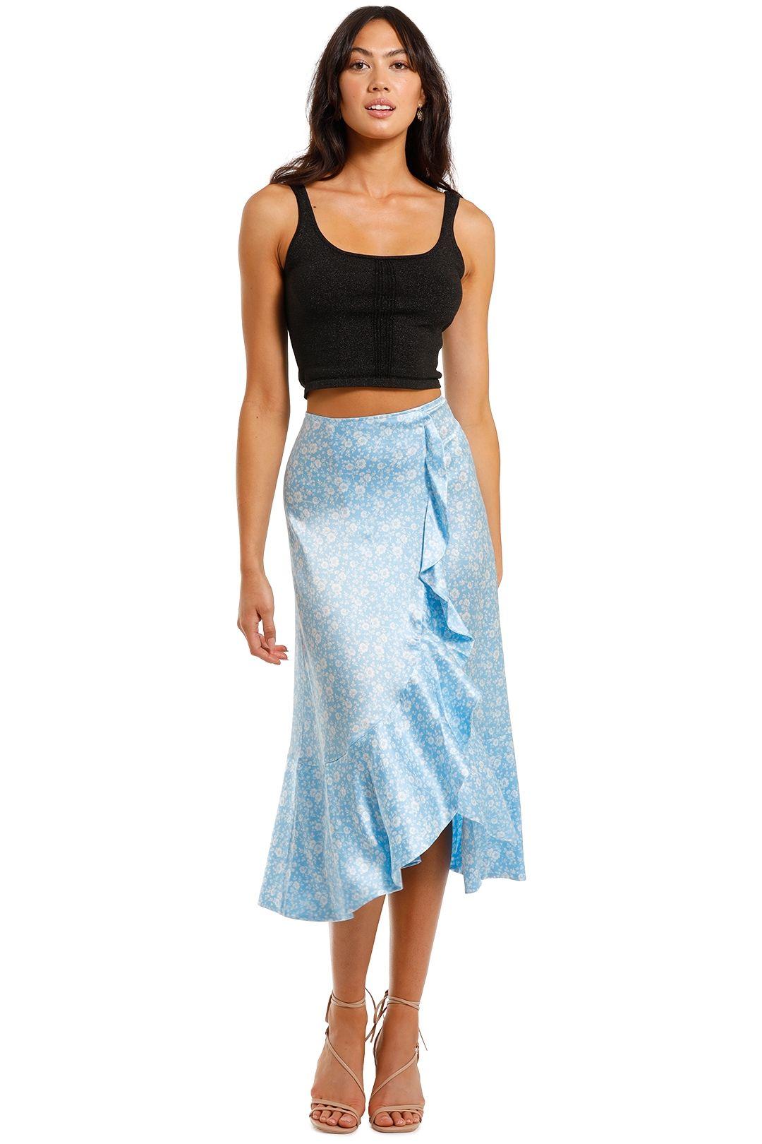Ganni Silk Stretch Satin Long Skirt Blue
