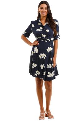 Ganni Silvery Twist Front Floral Crepe Dress