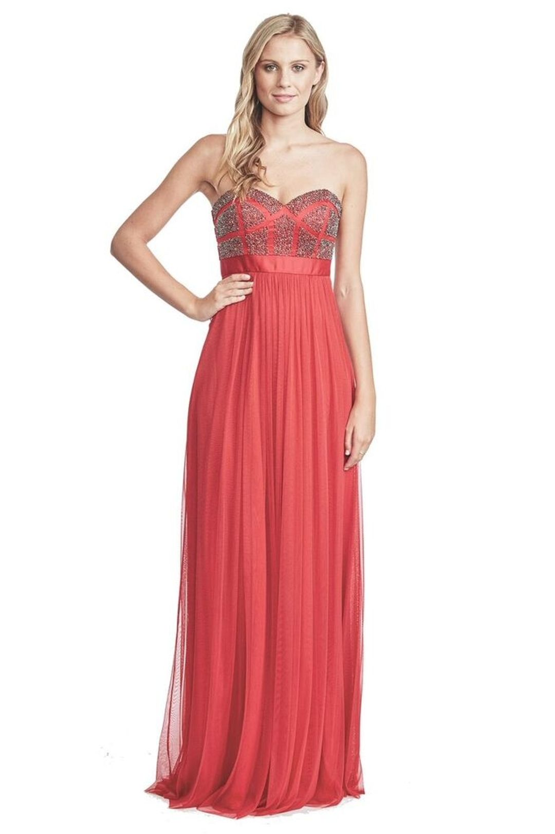 George - Pixel Gown - Scarlet - Front