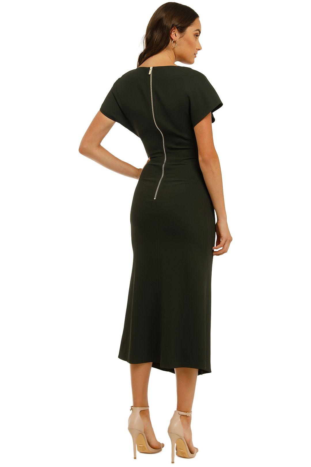 Ginger-and-Smart-Amplitude-V-Neck-Dress-Dark Kelp-Back