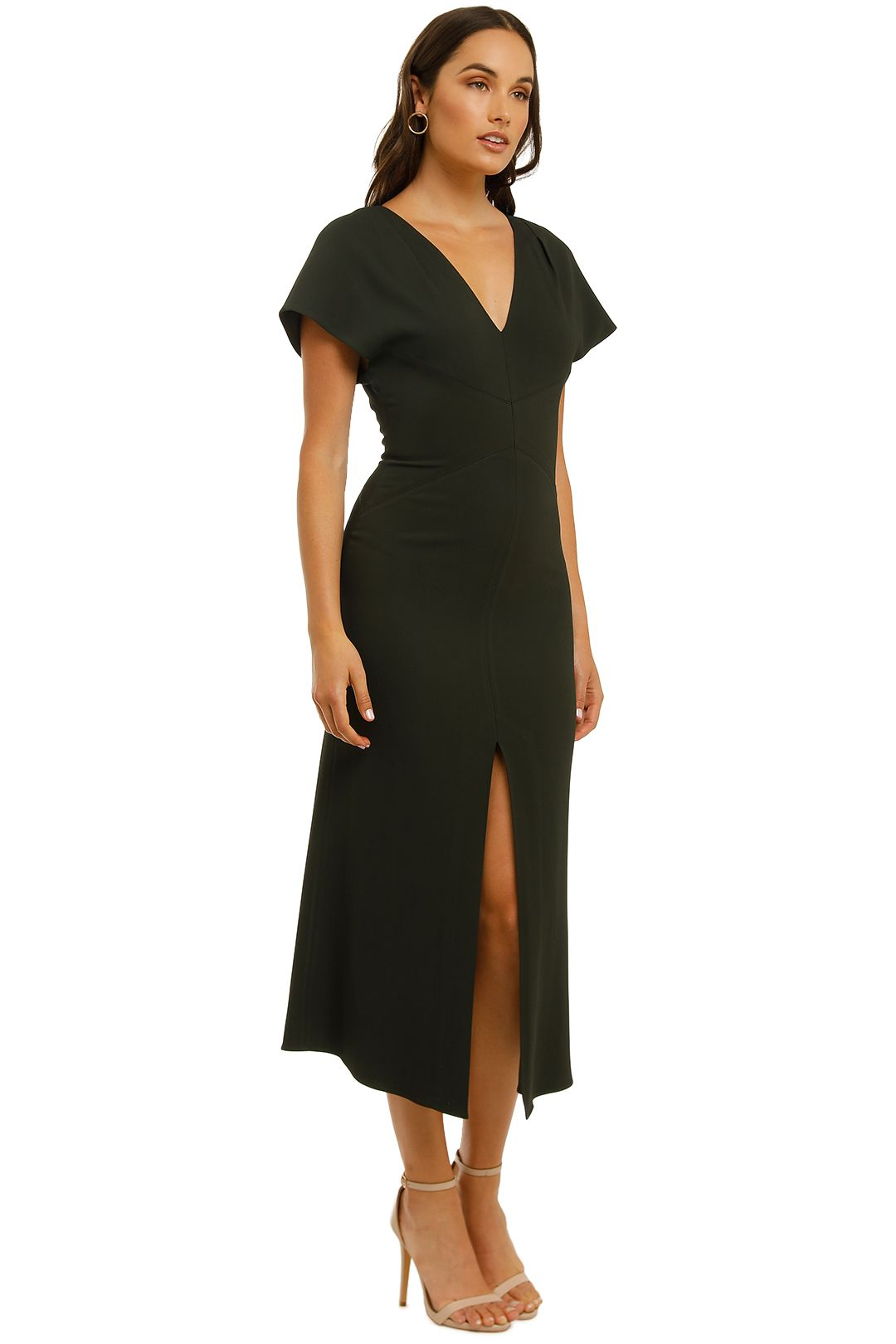 Ginger-and-Smart-Amplitude-V-Neck-Dress-Dark Kelp-Side