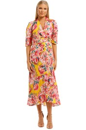 Ginger-and-Smart-Flourish-Wrap-Dress-Yellow-Front