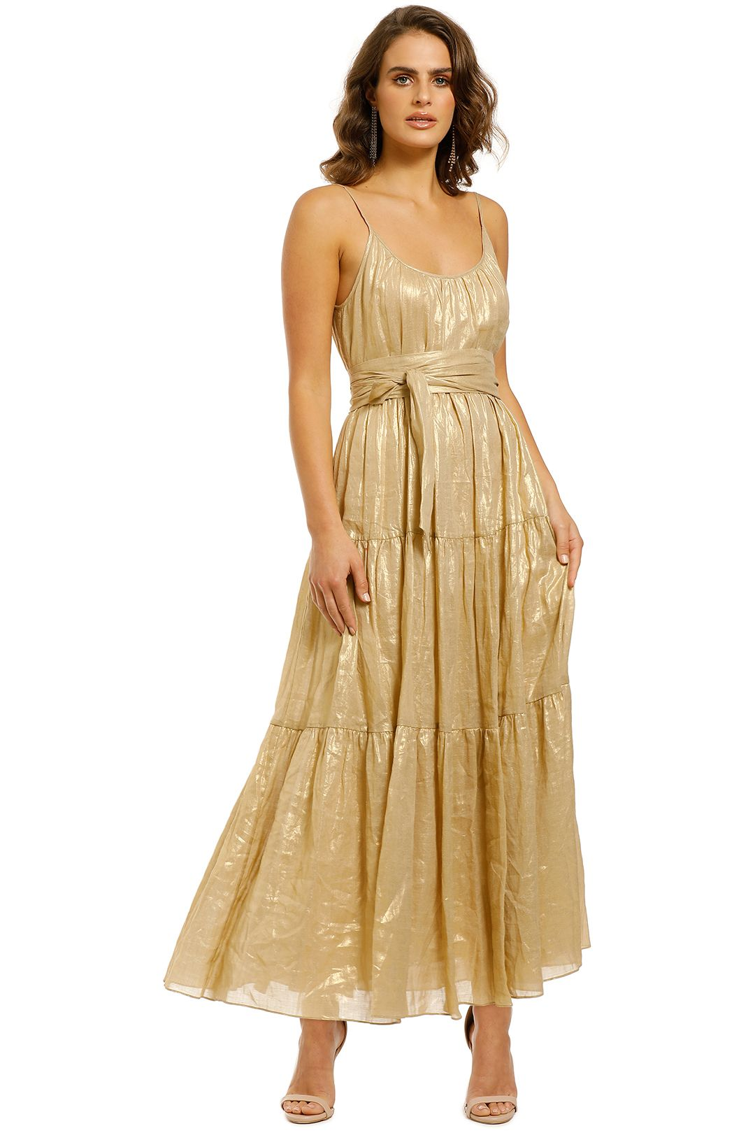 Ginger-and-Smart-Glorious-Maxi-Dress-Light-Gold-Front