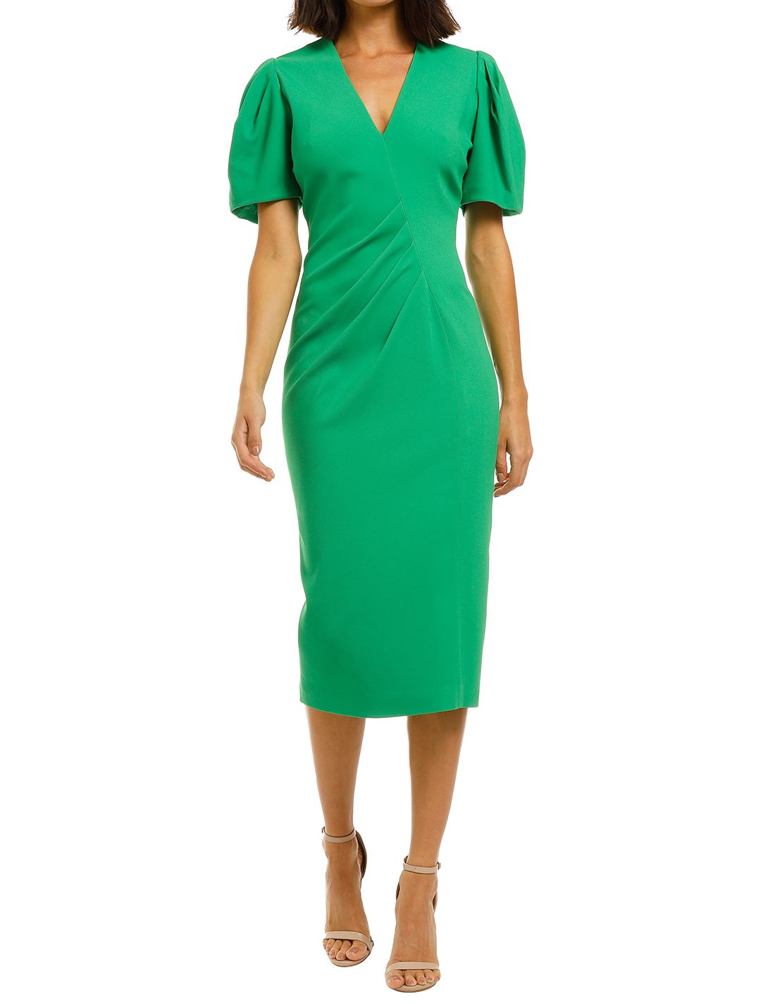 Ginger-and-Smart-Vortex-Dress-Neon-Green-Front