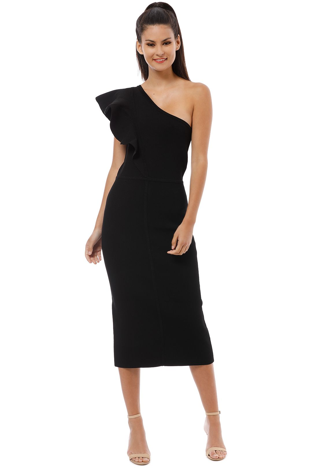 Ginger and Smart - Anchor One Shoulder Dress - Black - Front