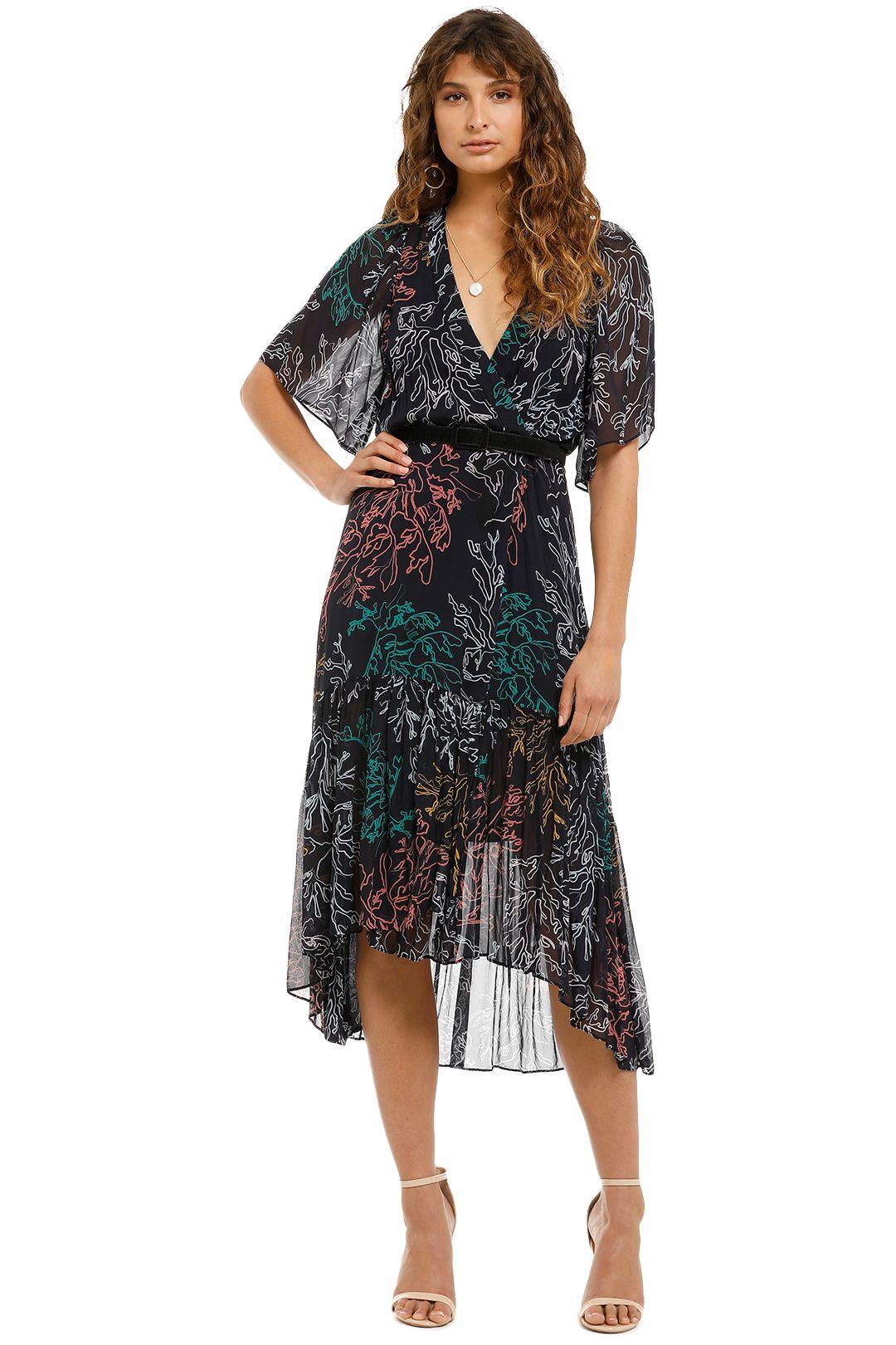 Ginger and Smart - Illustrate Wrap Dress - Black Print - Front
