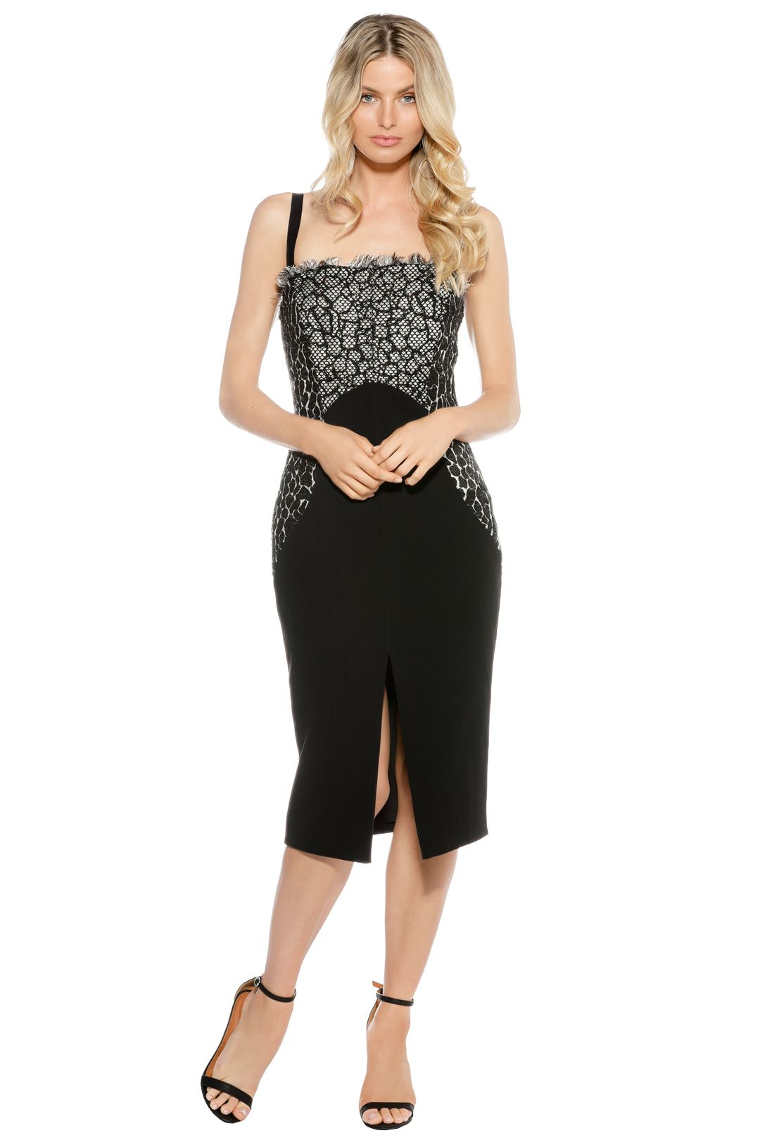 Ginger and Smart - Metallic Print Dress - Black - Front