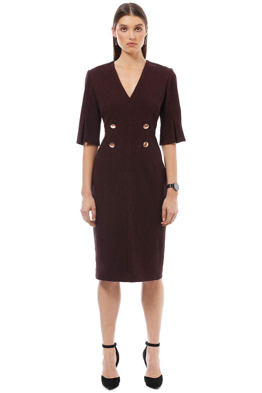 Ginger and Smart - Moduate Dress with Sleeve - Burgundy - Front