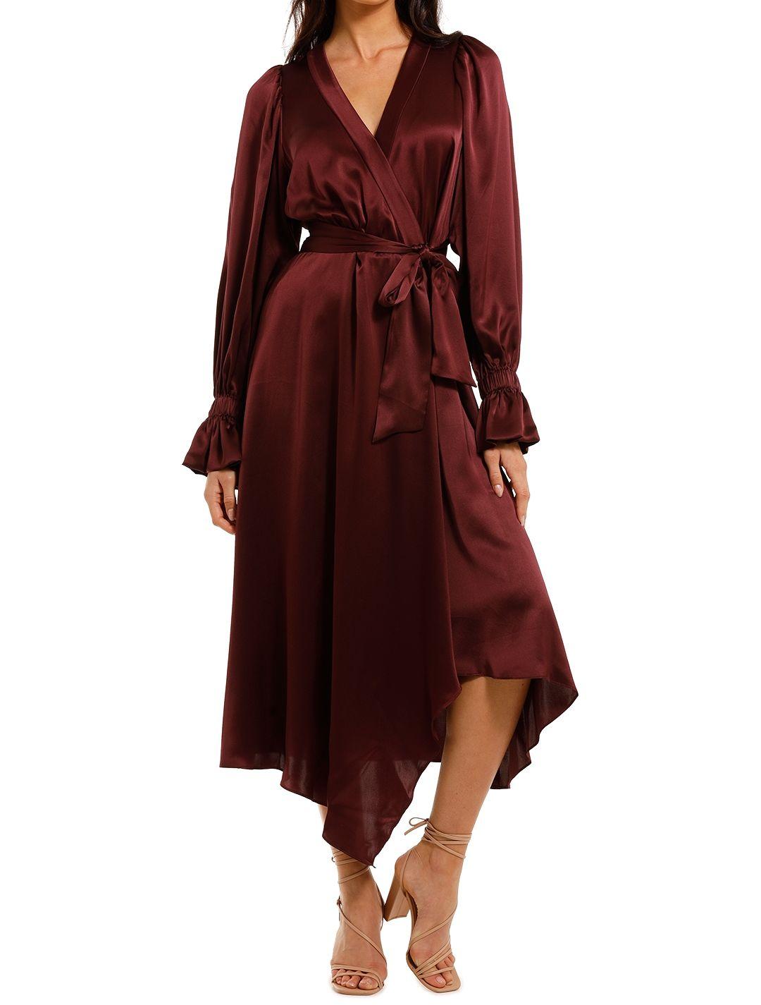 Ginger and Smart Molten Wrap Dress Burgundy Midi Length