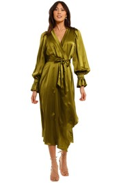 Ginger and Smart Molten Wrap Dress Chartreuse Asymetric Skirt