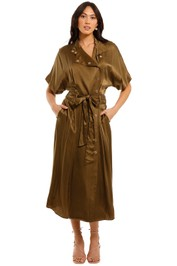 Ginger and Smart Nuance Dress Tobacco Midi Length