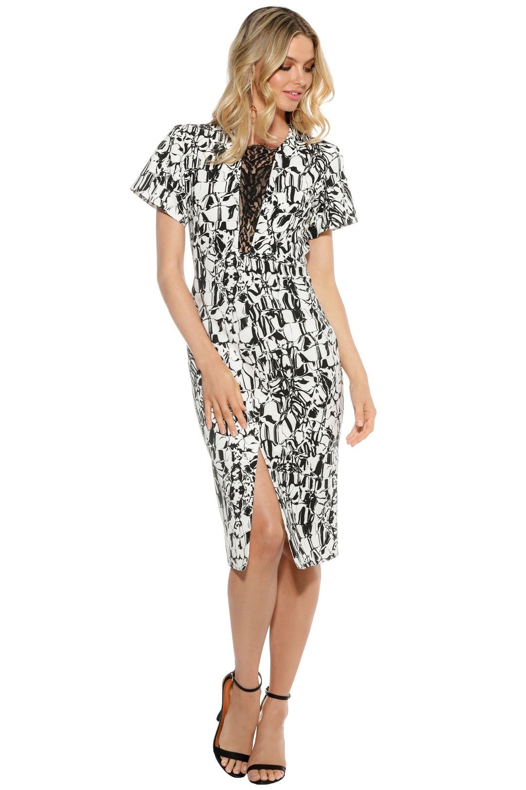 Ginger & Smart - Black Marble Dress - Black White - Front