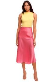 Ginia Cardi Silk Pink Skirt midi