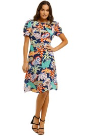 Gorman-Floral-Coral-Dress-Multi-Front