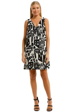 Gorman-Night-Light-Shift-Dress-Black-White-Print-Front