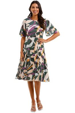 Gorman Dancing Leaves Dress Green Abstract Print