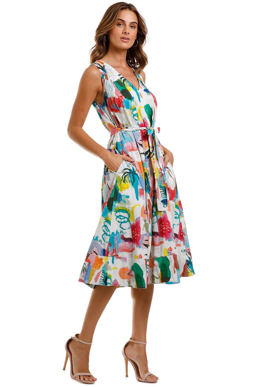 Gorman Shadow Pattern Dress V-neckline