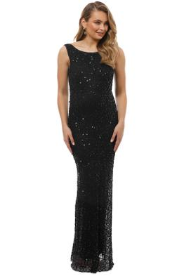 Grace and Blaze - Sequin Black Gown - Black - Front