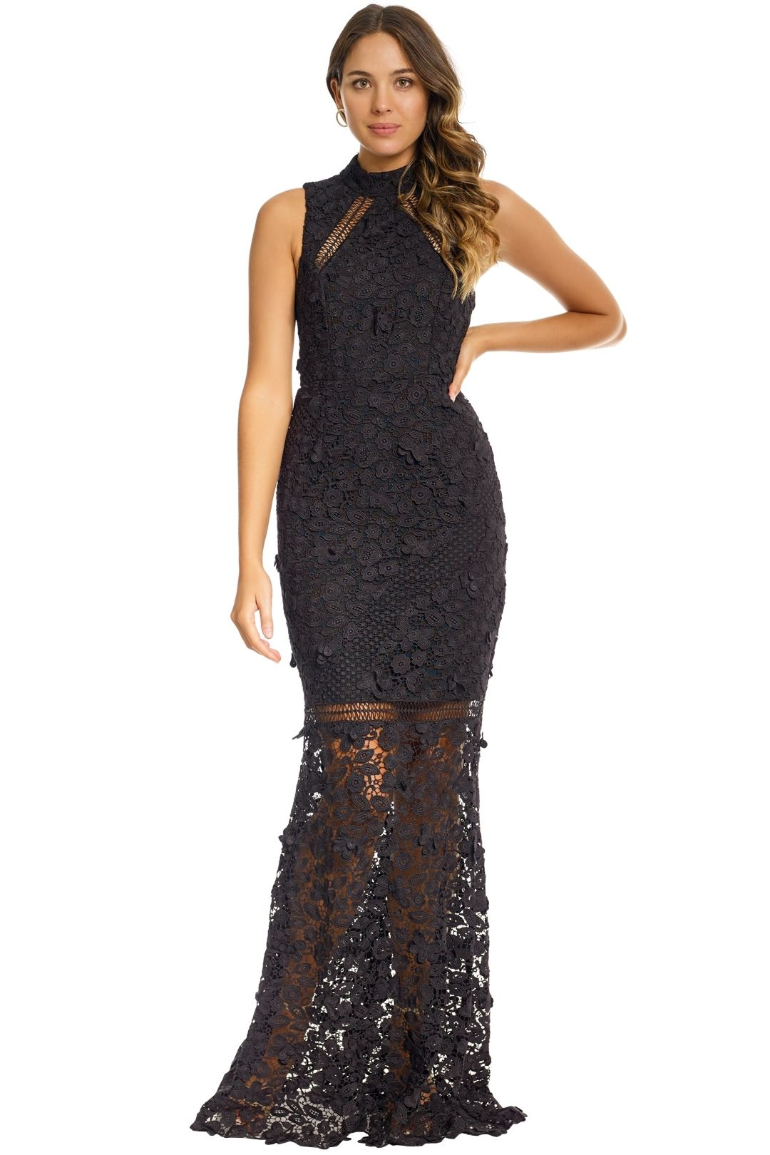 Grace and Hart - Floral Fantasia  Gown - Black - Front