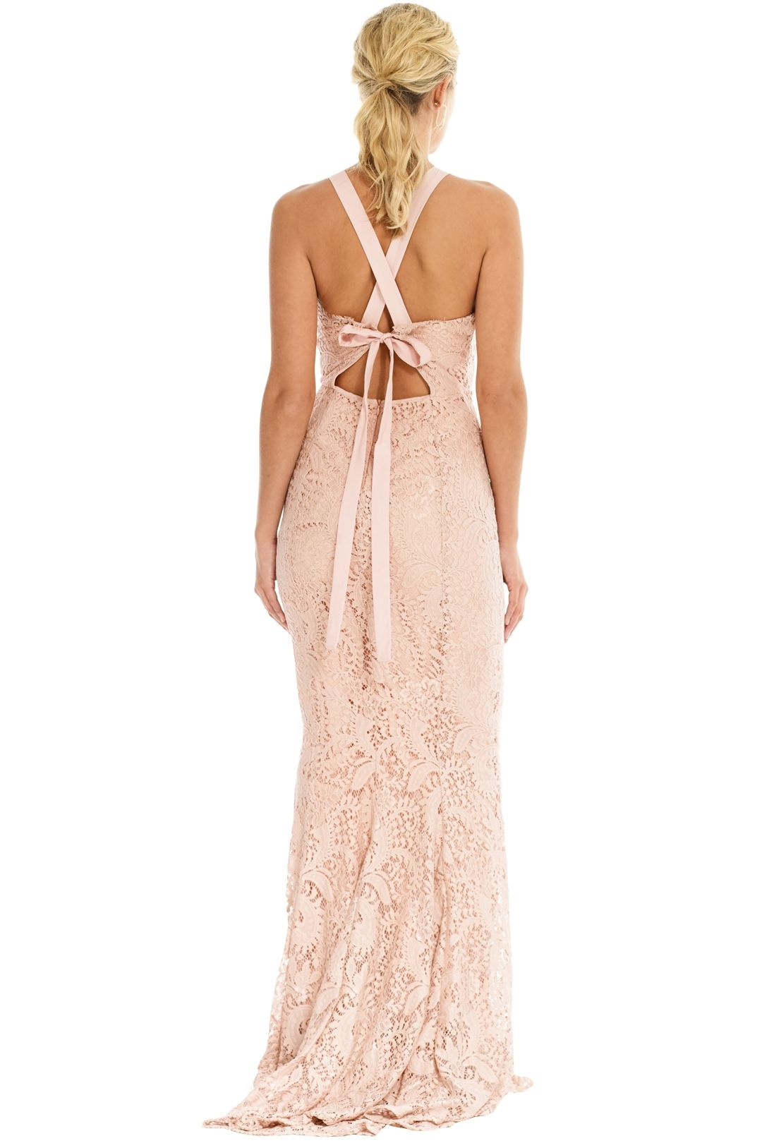 Grace and Hart - Mystic Lace Cross Back Gown - Blush - Back
