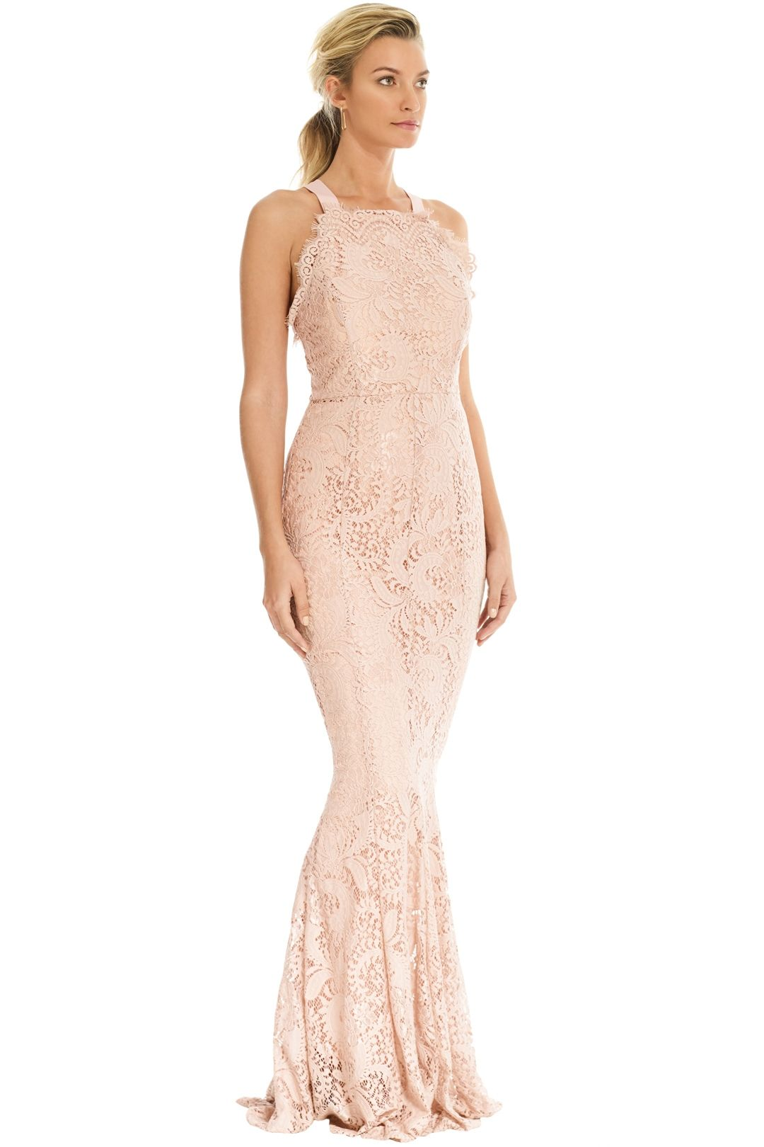 Grace and Hart - Mystic Lace Cross Back Gown - Blush - Side