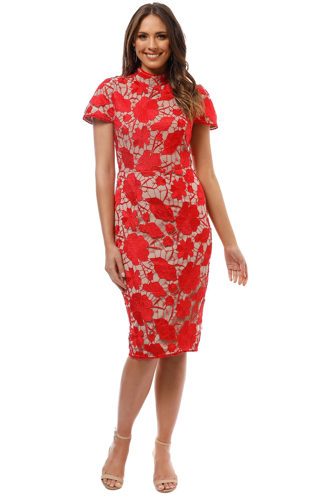 Grace and Hart - Primrose Midi Dress - Red - Front