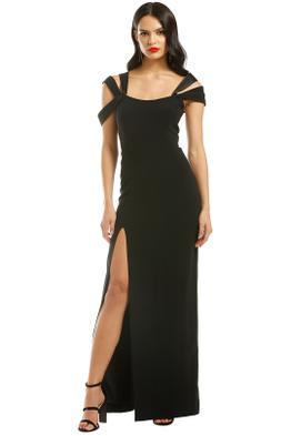 Halston-Heritage-Cold-Shoulder-Fitted-Gown-Black-Front
