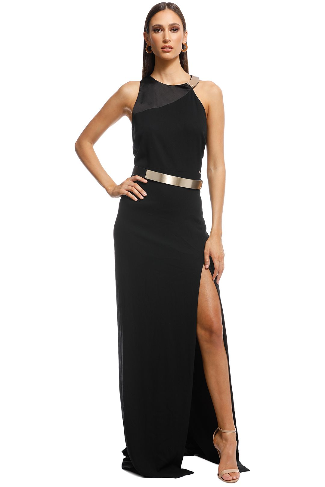 Halston Heritage - Metal Plate Crepe Gown - Black - Front