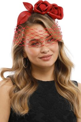 Heather McDowall - Ruby Fascinator - Red - Side Model
