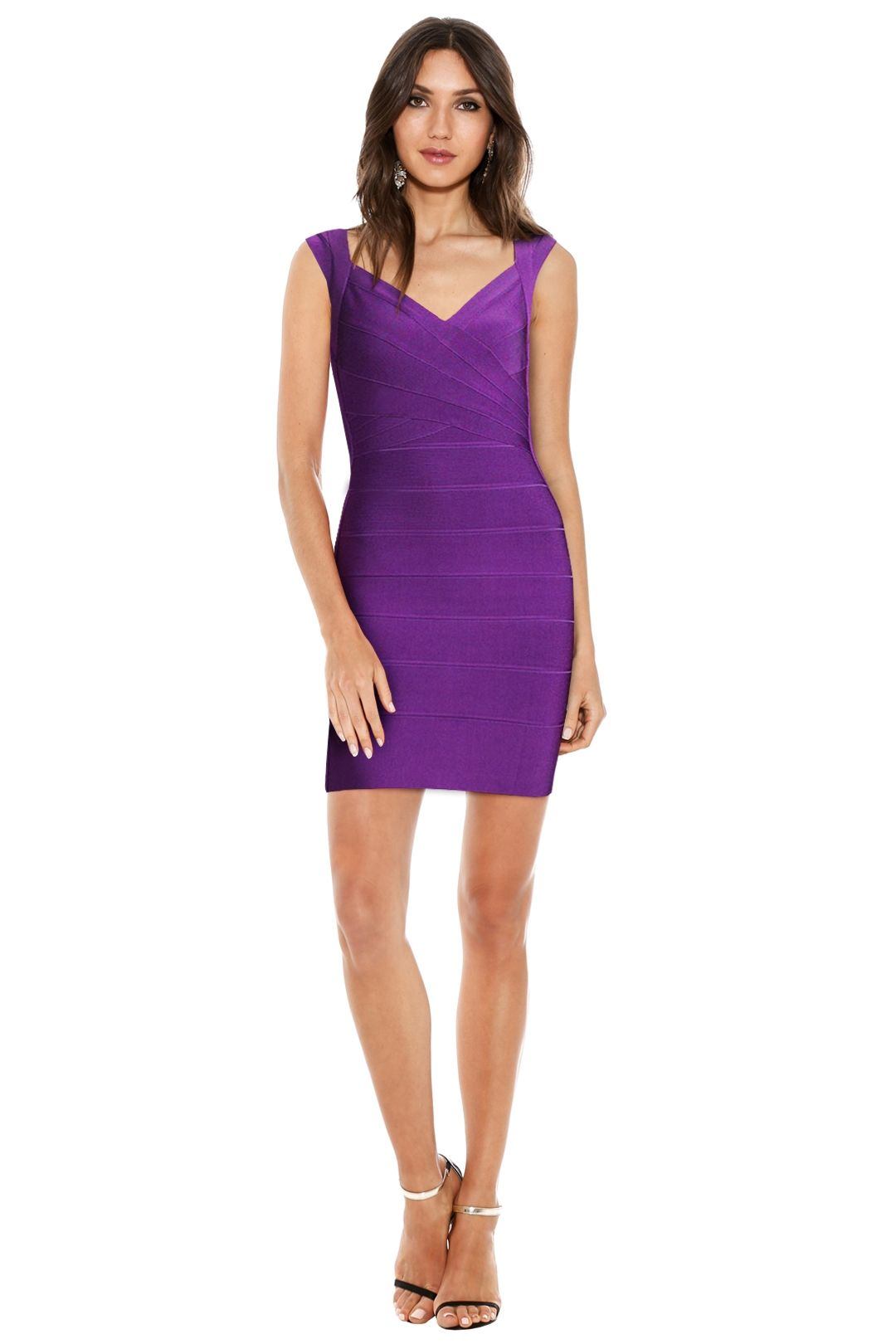 Herve Leger - Crisscross Openback Bandage Dress - Bright Violet - Front