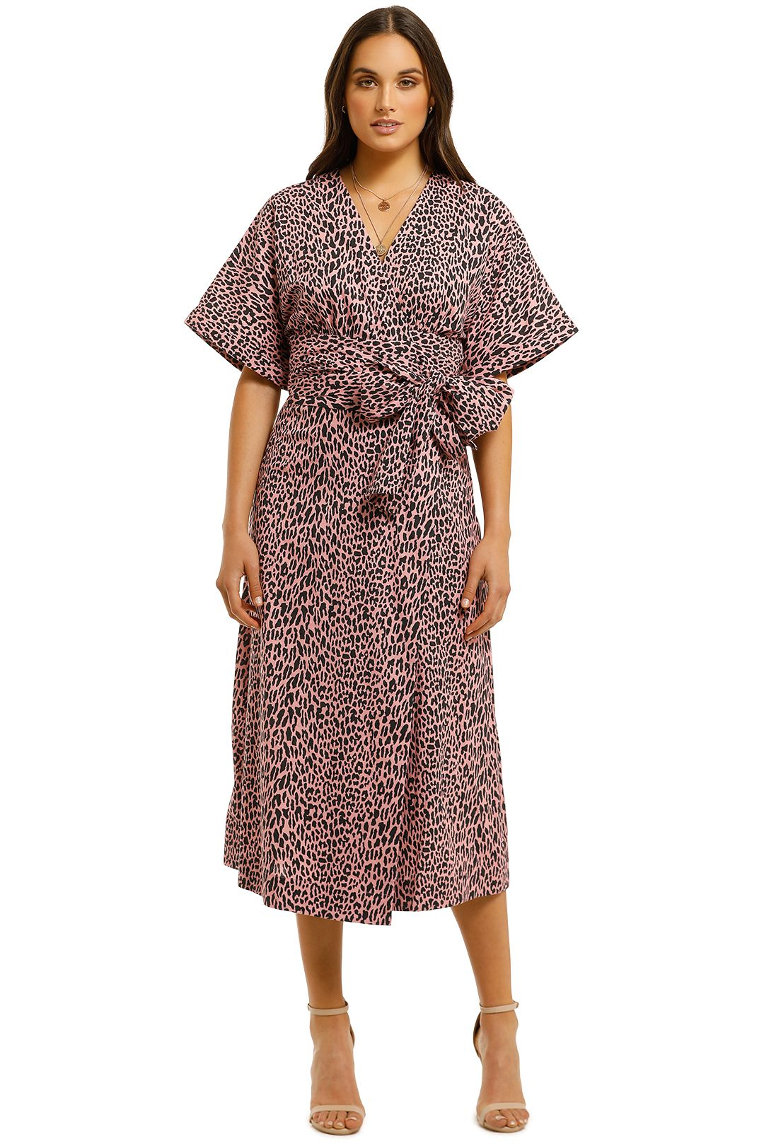 Husk-Lima-Wrap-Dress-Pink-Leopard-Front