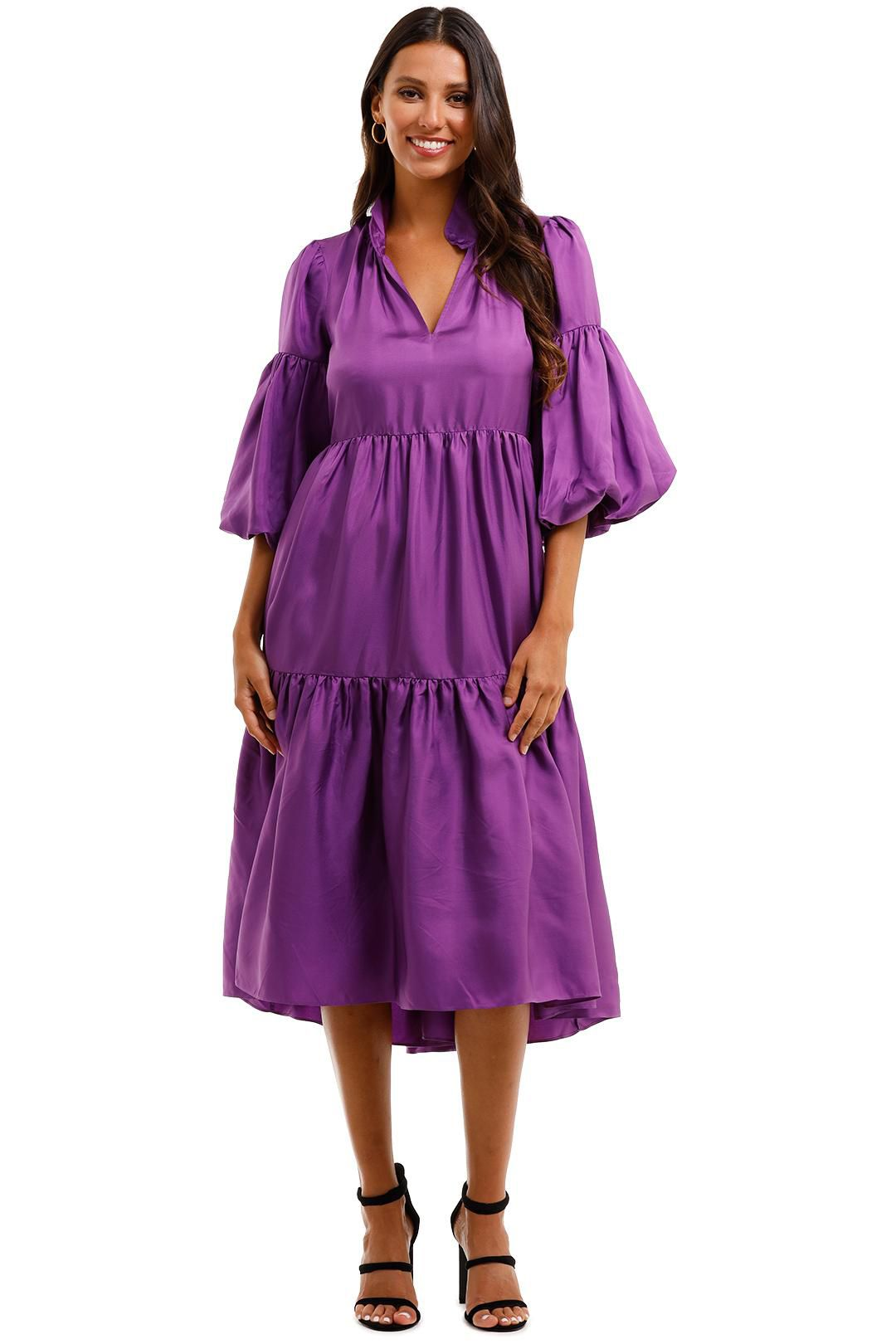 Husk Liberty Dress Violet Tiered Skirt