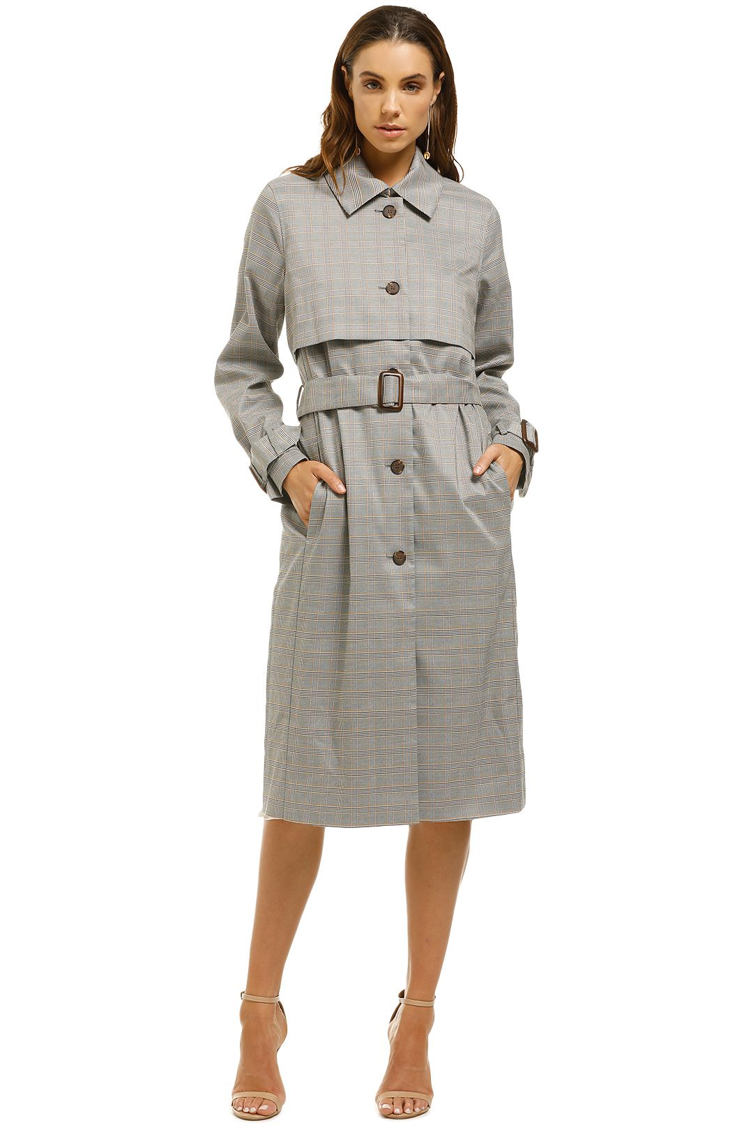Iris-and-Ink-Prince-Of-Wales-Check-Woven-Trench-Coat-Grey-Front