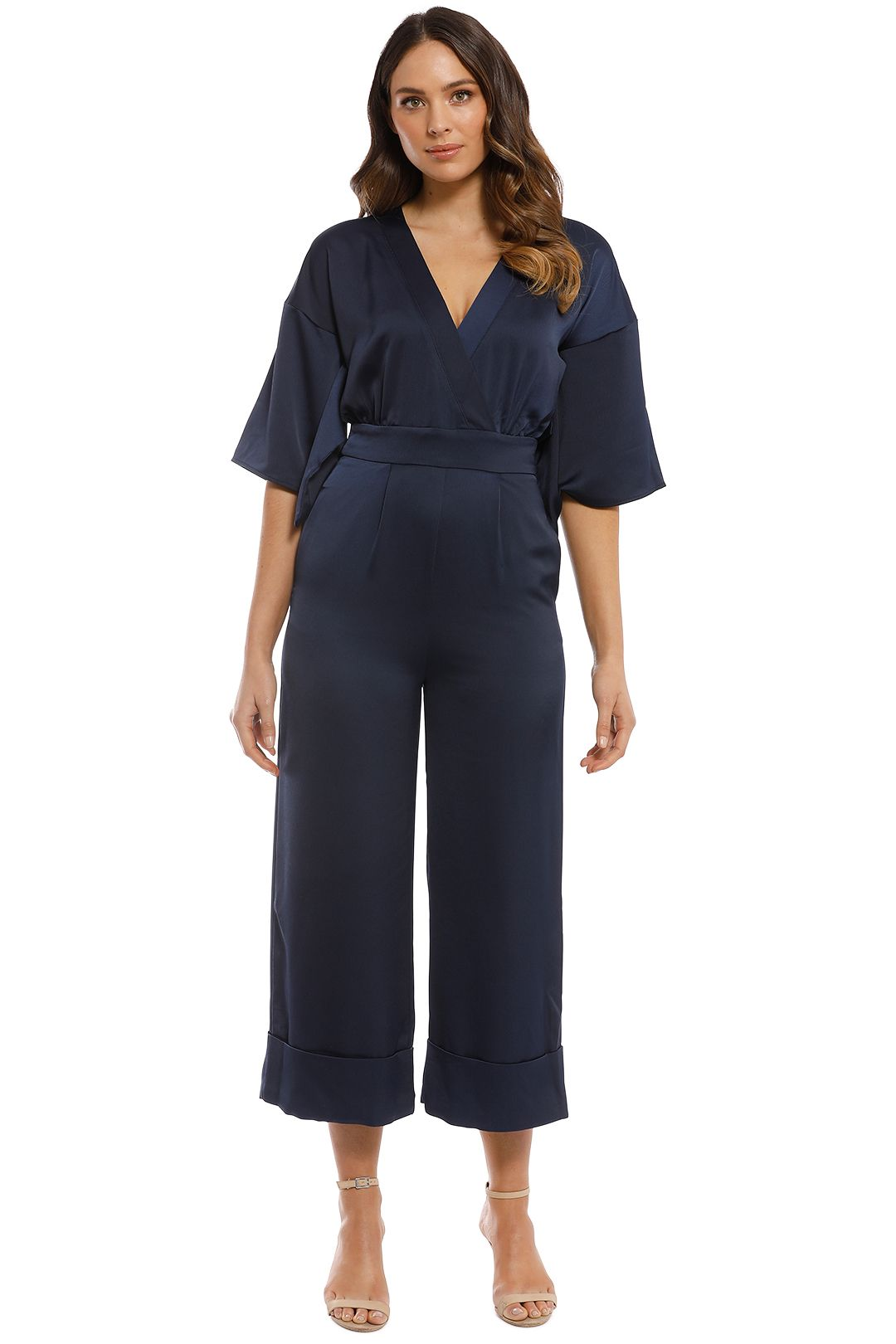 Iris and Ink - Sidney Satin Jumpsuit - Navy - Front