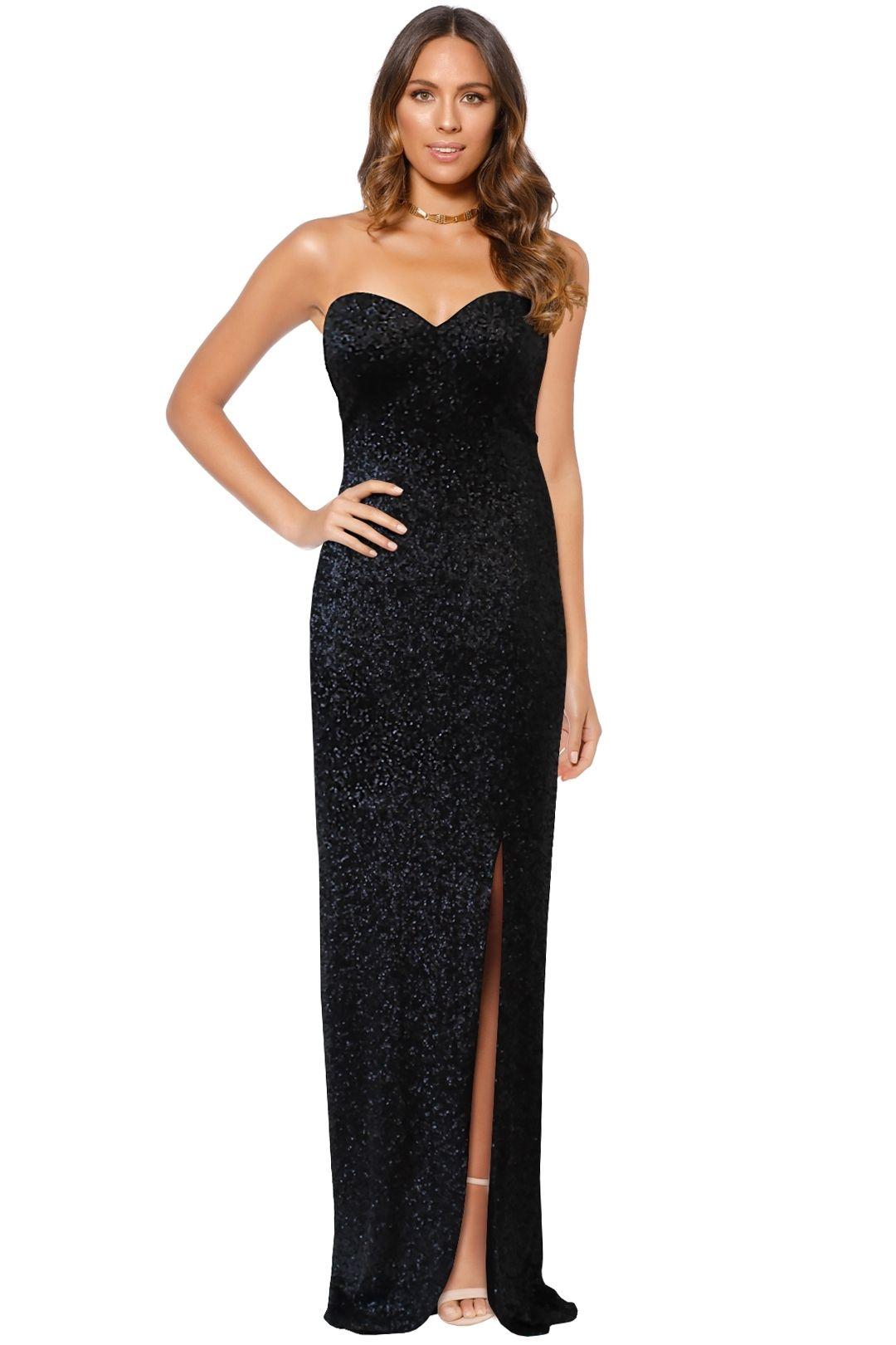 Jadore - Sequin Split Maxi Dress - Black - Front