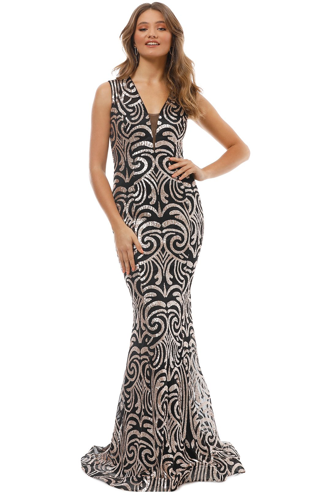 Jadore - Swirl Gold Gown - Gold - Front