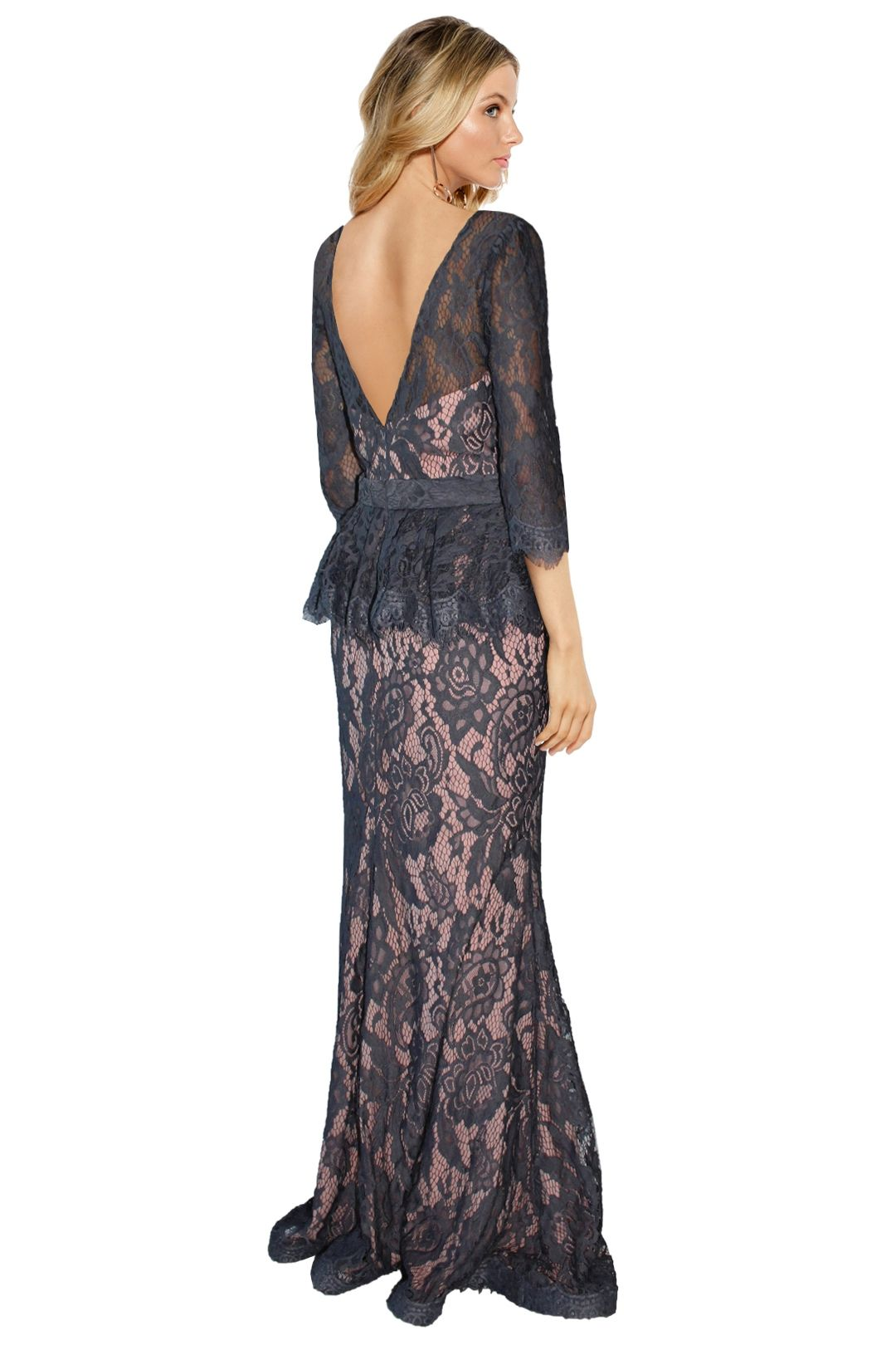 Jadore - Tessa Lace Gown - Grey Lace - Back