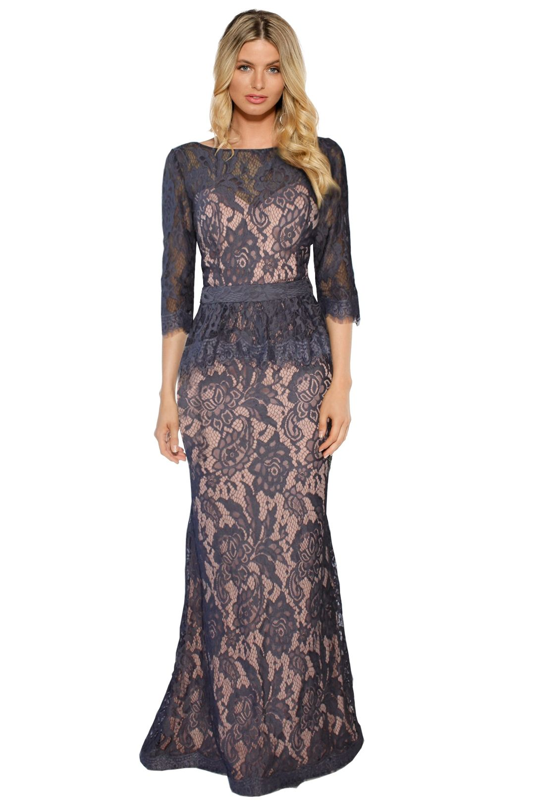 Jadore - Tessa Lace Gown - Grey Lace - Front