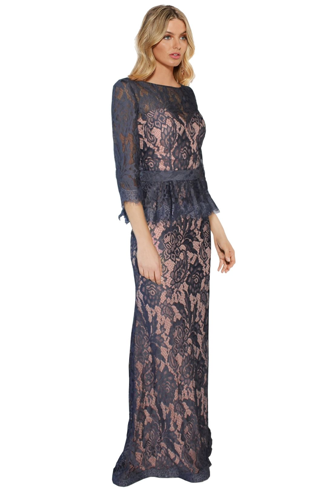 Jadore - Tessa Lace Gown - Grey Lace - Side