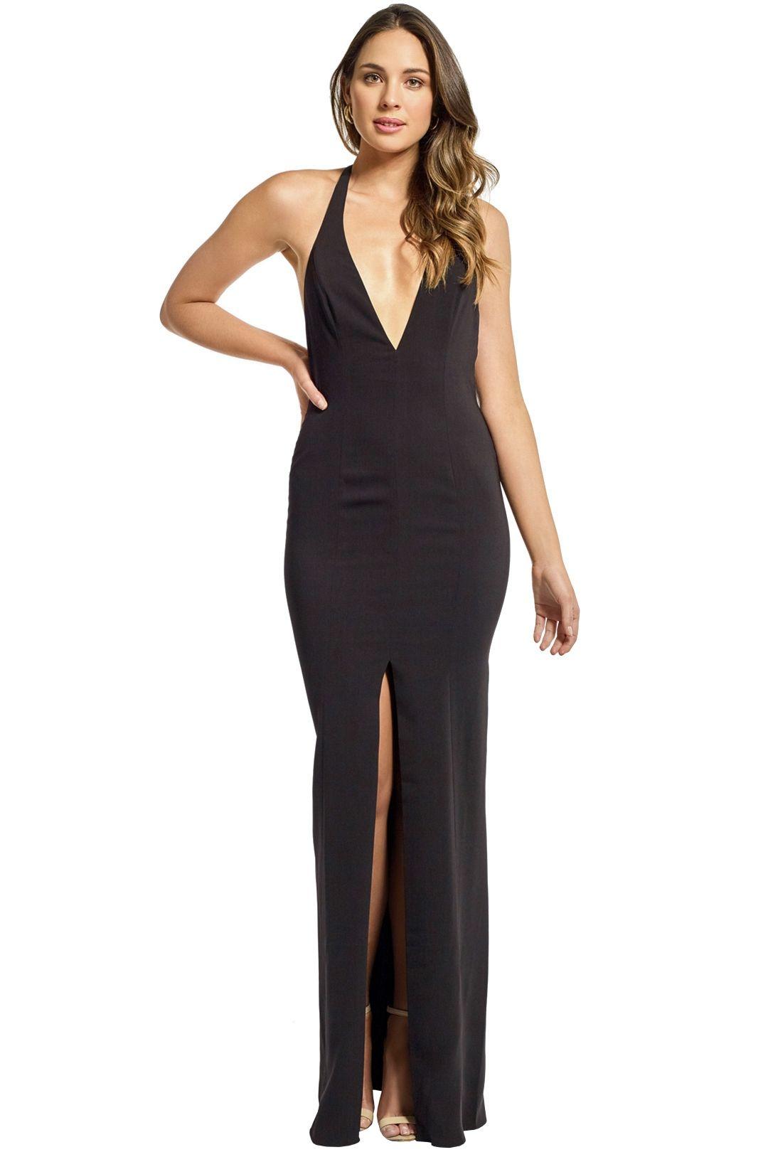 Jay Godfrey - Lena Deep V Halter Gown - Black - Front