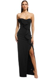 Jay Godfrey - Varys Strapless Ruffle Gown - Black - Front