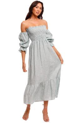 Jillian Boustred Esther Dress Green Stripe