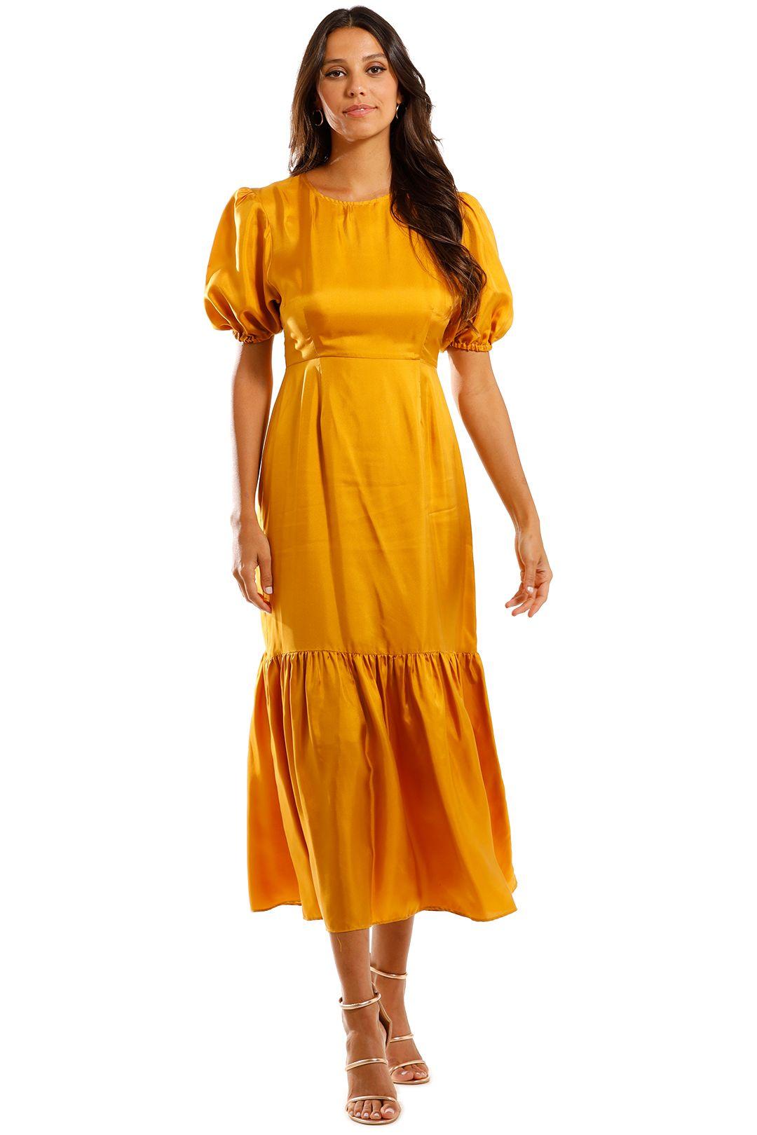 Jillian Boustred Flora Silk Maxi Dress Yellow